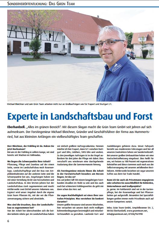 Presse-Artikel: Experte in Landschaftsbau und Forst